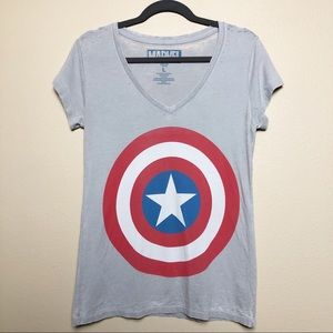 Marvel Captain America Burnout Graphic V-Neck Tee